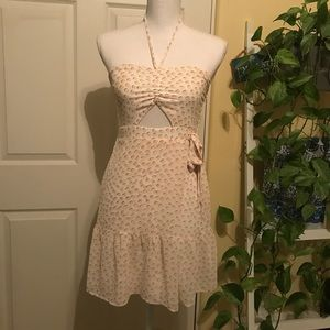 White Express Halter Dress with Pink Dots